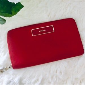 DKNY Red leather accordion wallet gold hardware